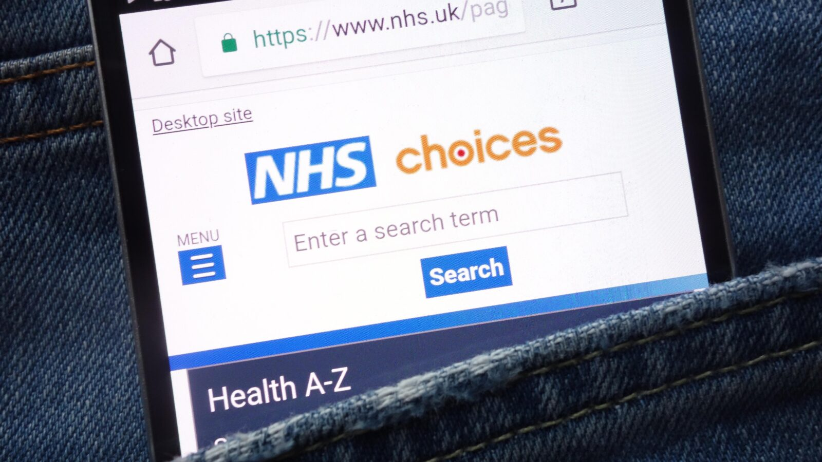 NHS Choices website on smartphone