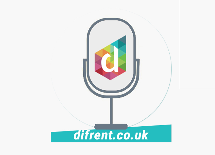 difrent.co.uk with the Difrent logo in the middle of a microphone