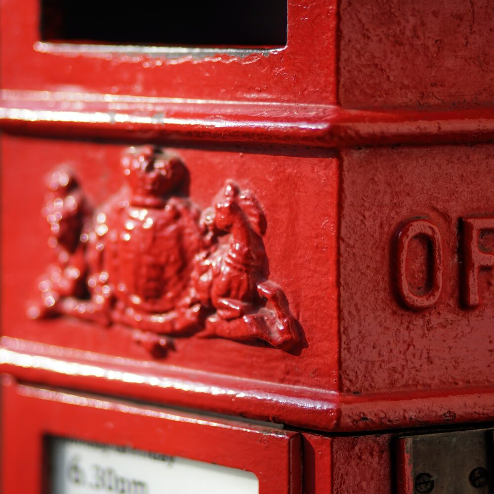 close up of post box