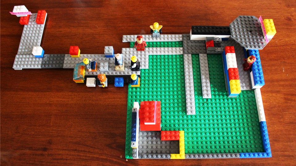 Lego model of a train station used during User Research